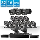 Zmodo 32 Channel HD NVR (Support 8 1080p Zmodo Camera) Surveillance System 16x720p Weatherproof sPoE Security Camera, w/Repeater for Flexible Installation, 24/7 Recording & Remote Monitoring