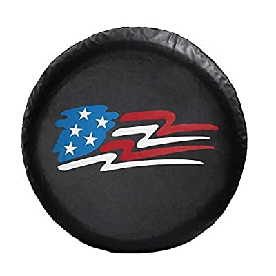 LINED VINYL LEATHER GRAIN SPARE TIRE COVER Pop-up Camper US Flag