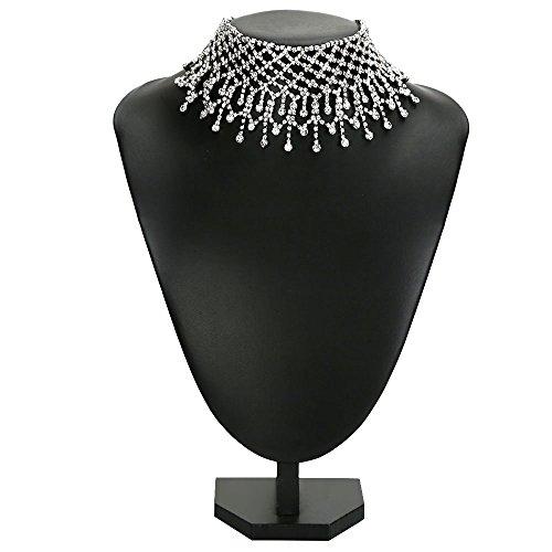 DOTASI Women Fashion Punk Wide Collar Necklace Jewelry Drop Alloy Rhinestone Choker (Wide Choker Necklace)