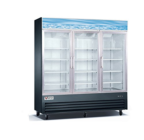(Commercial Grade Merchandiser Refrigerator by Vortex Refrigeration | 3 Self-Closing Doors | Fog Resistant Glass | 72 Cu. Ft. | 12 Adjustable Shelves | for Restaurants | 78.3
