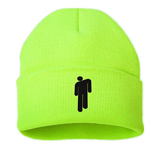 Billie Eilish Beanie Beany Muticolored for Women Girls Men Boys Dont Smile at Me Wish You were Gay Bad Guy (OneSize, Chartreuse)