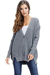 Alexander David Sweaters For Women Oversized Ribbed Sweater Cardigan Knit Button Down Grey Medium Large