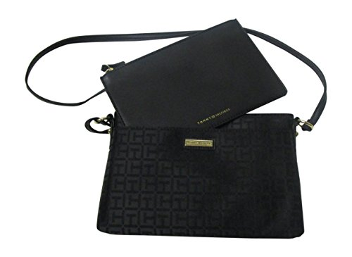 and 2 Black Hilfiger Womens' Tommy in Pouch Crossbody Fabric One Tonal Bag Signature w8UqPIpq