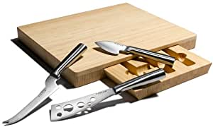 Amazon 3-Piece Stainless-Steel Cheese-Knife Set with Bamboo Cutting/Storage Board