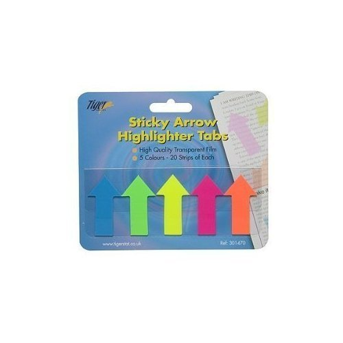 Tiger adhesive sticky arrow highlighter tabs/flags for ()