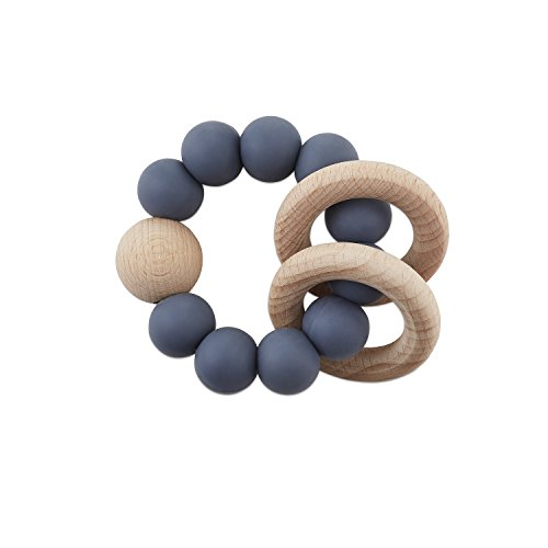 Babe Basics Teething Rattle | Natural Wood & BPA-Free Silicone Teething Toy ...