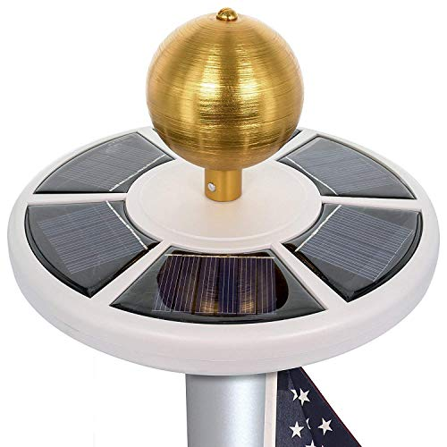 HiMo Solar Power Flag Pole Light with Flag LED Downlights, Auto On/Off and Waterproof for Most 15 to 25 Ft Flag Pole Night Lighting Eco-Friendly Figurine Lights
