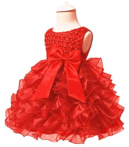 Jup'Elle, Little Baby Girl Dress Kids Ruffles Party Wedding Dresses, Margarite Scarlet(red), 6-12 Months -