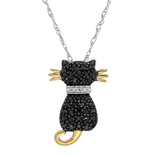 (1/5 ct Black & White Diamond Two-Tone Cat Pendant Necklace in 14K Gold & Sterling Silver)
