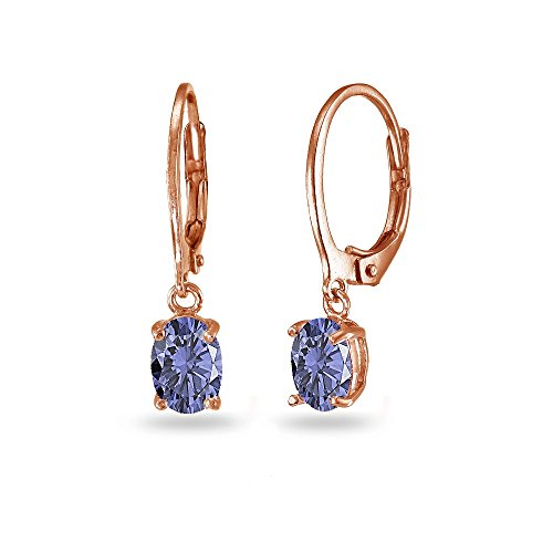 LOVVE Rose Gold Flashed Sterling Silver Simulated Tanzanite 7x5mm Oval Dangle Leverback Earrings (Dangling Earrings Tanzanite)