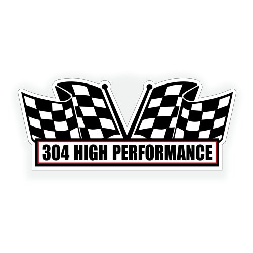 Solar Graphics USA Air Cleaner Engine Decal - 304 High Performance V8 Motor for Classic Muscle Car, Compatible with Jeep, AMC, Pontiac, Ford - 5x2.25 inch ()