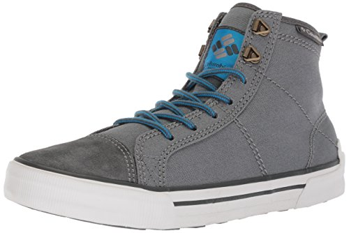Canvas Steel Toe Sneaker Shoe (Columbia Men's Goodlife High Top Sneaker, Ti Grey Steel, Hyper Blue, 9 Regular US)
