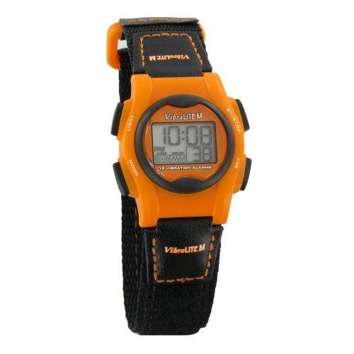 (VibraLITE Mini 12-Alarm Vibrating Watch - Black & Orange)