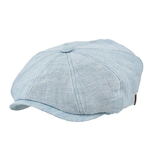 (Stetson Men's Hatteras Linen 8/4 Cap, Light Blue, L)