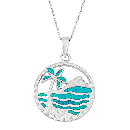 Sterling Silver Created Blue Opal Palm Tree & Ocean Circle Pendant with 18