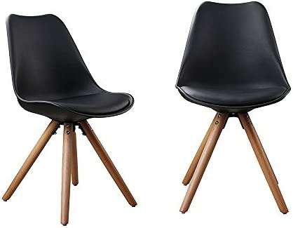 YK Decor 2 Set of Mid Century Modern DSW Dining Chairs Armless Side Chair Wood Leg Soft Padded Chair