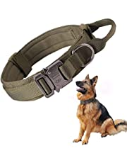 SunteeLong Tactical Dog Collar Adjustable Military Nylon Dog Collar Heavy Duty Metal Buckle with Handle for Dog Training (Green M)
