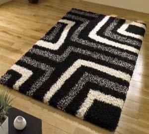 black and cream rug. Tides Black Cream Grey Modern Shaggy Home Rug 4, 120x160cm (4. And