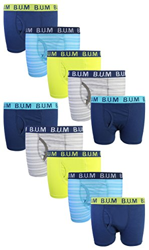 - B.U.M. Equipment Boys 10 Pack Solid Boxer Briefs Underwear, Fashion Stripes, Large/12-14\''