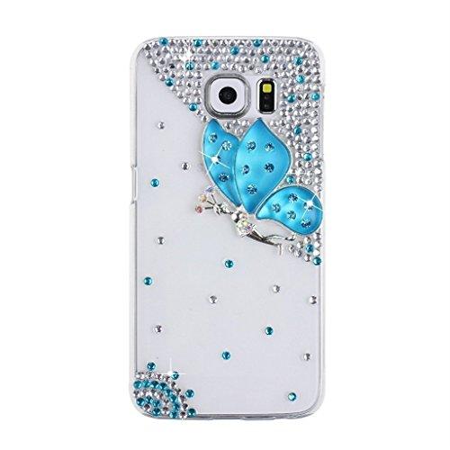 Evtech (tm) Caja del teléfono celular Transparencia contraportada azul Diamante mariposa de hadas azul diamante Rhinestone Bling Bling del brillo Fashion Style para Samsung Galaxy Note 5 (100% Artesan