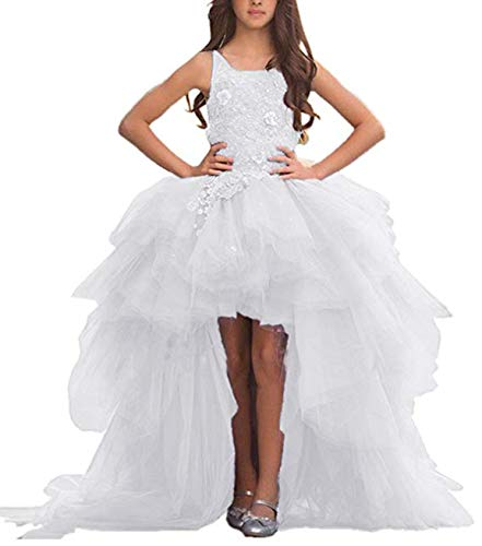 Adela Lace High Neck Pageant Dresses Ball Gown Hi-Low Appliques Kids Wedding First Communion Dress with Train AR028 ()