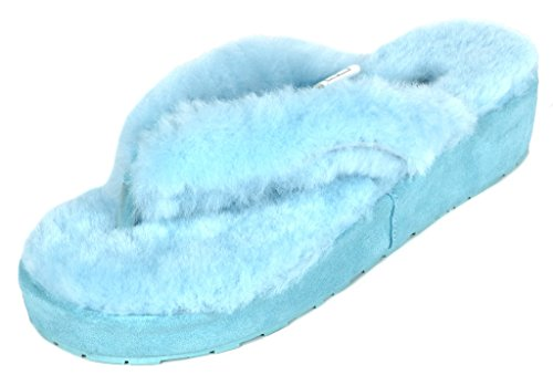 DREAM Flops Women's 02 Blue Fluffy PAIRS Sheepskin Slippers Spa 02 Fur Comfy Flip rCqrxz