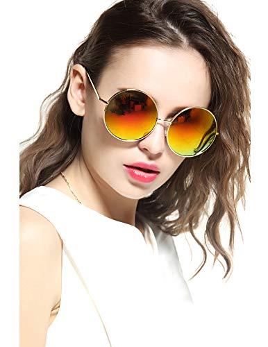 und Circle Mirrored Hippie Hipster Sunglasses - Metal Frame ()