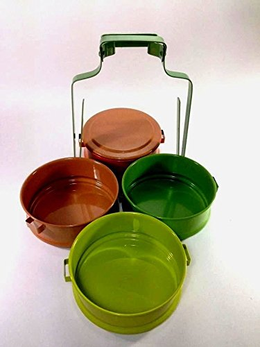 Colorful Classic Thai Antique Traditional 4-stack Lunch Box Food/ Tiffin Carrier