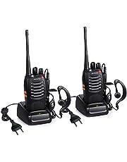 Proster T0036X2 - Walkie Talkie Recargables, 16 Canales, CTCSS DCS, con Auricular Incorporado Antorcha de LED y Cargador USB, 2 Pares