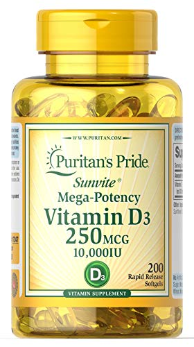Puritan's Pride Vitamin D3 250 mcg (10,000 IU)-200 Softgels
