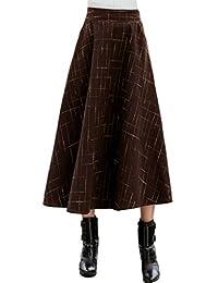 iRachel Womens Fall Winter High Waist Wool Expansion Skirts Maxi A-line Skirt