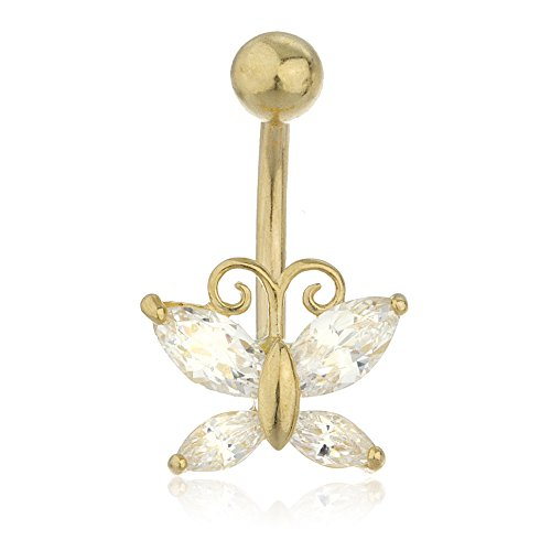 10k Yellow Gold Cz Butterfly Belly Button Ring (GO-408) ()