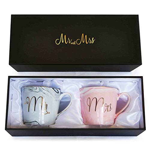 Wedding Gift - Mr and Mrs Mug Set - Classy and Elegant Gift Box with 2 Marble/Gold Tea or Coffee Cups - Beautiful Couples Anniversary, Engagement or Wedding Present for Bride and Groom (Grey & Pink) from GIFTALIA