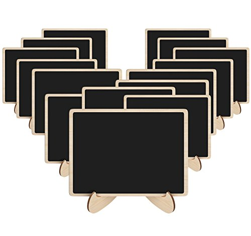 Korlon 15 Pack Mini Chalkboards Signs with Easel Stand, Wood Rectangle Small Chalkboard Signs Place Cards for Weddings, Parties, Table Numbers, Food Signs and Special Event Decoration ()