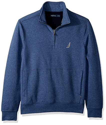 Nautica Men's Long Sleeve Half Zip Mock Neck Sueded Fleece Sweatshirt, Blue Indigo Heather ()