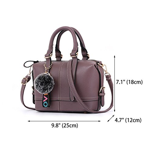 Bags Body Handle Bags Faux Cross Leather Top Handbags Women's Shoulder Purple Bags CwpqvfT