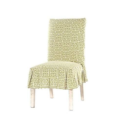 Single Piece Lime Green Home Decor Pleated Slipcover Dining Chair, 41x20 Size, Geometric Pattern, Cotton Material, Luxurious Velvet Look to Dining Room ()