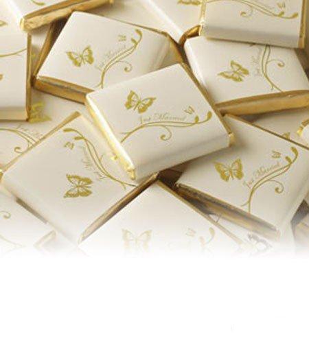 250g 50St Schokoladentafeln EinsSein® Schmetterlinge creme-gold Gastgeschenke Hochzeit Hochzeitsmandeln