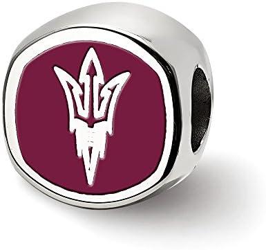 Beadaholique Charm-Anhänger aus Sterling-Silber 925, Motiv Arizona State U