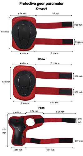 LANOVAGEAR Kids Adjustable Protective Gear Set Knee Elbow Pads Wrist Guards for Skateboard Bicycle Sports Safety (Red, Small) by LANOVAGEAR (Image #7)