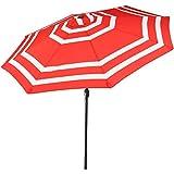 Cheap Sunnydaze 9 Foot Outdoor Patio Umbrella with Push Button Tilt & Crank, Aluminum, Red Stripe
