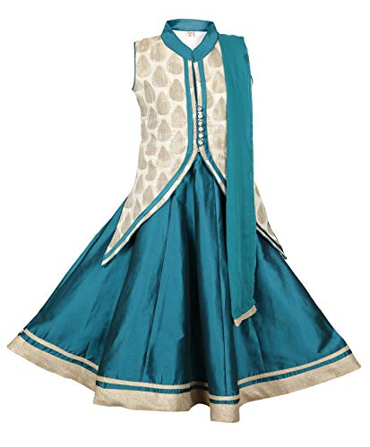 (Ashwini Girls Netted Green Skirt Top (Green, 10-11 Years))