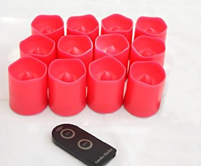 Candle Choice Set of 12 Red Plastic Flameless LED Votive Candles with Remote