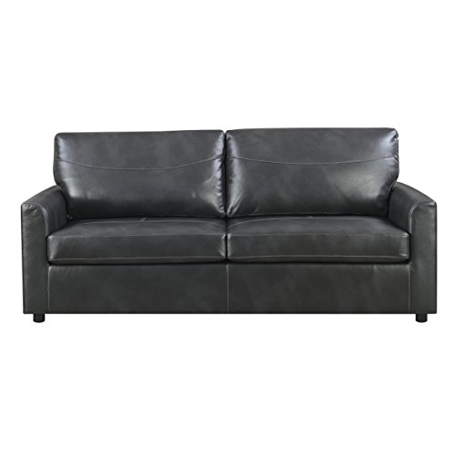 Emerald Home Slumber Charcoal Sleeper Sofa with Faux Leather Upholstery And Gel Foam ()