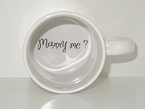 Marry me Coffee Mug, bride mug, Father, Bottom mug, hidden message, secret message, Funny, Cool, Coffe cup, surprize (Marry Me Coffee Cup compare prices)