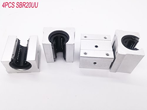 4 Pcs SBR20UU 20mm Aluminum Open Linear Router Motion Bearing Solide Block ()