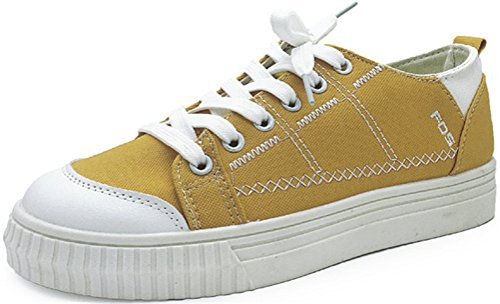 SATUKI Canvas Shoes For Women,Lace Up Casual Comfort Flat Fashion Sneakers Yellow