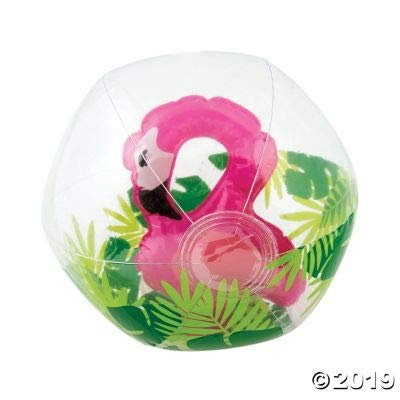 Fun Express Inflatable Clear Beach Balls with Flamingo Inside- Toys - 12 Pieces: Sports & Outdoors