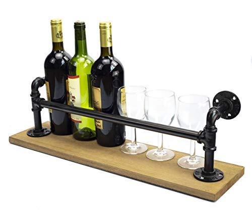 Y-Nut Water Pipe Wine Bottle Holder, Vintage Wall-Mounted Wine Rack, Cabinet Champagne Bottle Storage Shelf, Metal Iron Water Pipe Wine Rack, Holds 6 Wine Bottles