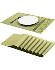 """Jujin 17.7"""" Placemats Set of 8 Non-Slip Washable PVC Heat Resistant Table Mats for Dining Table"""